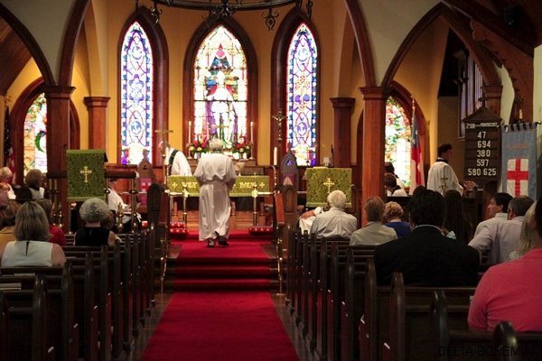 Rev. David Elliott heading toward the altar at St. Georges Episocpal Church in Clarksdale.