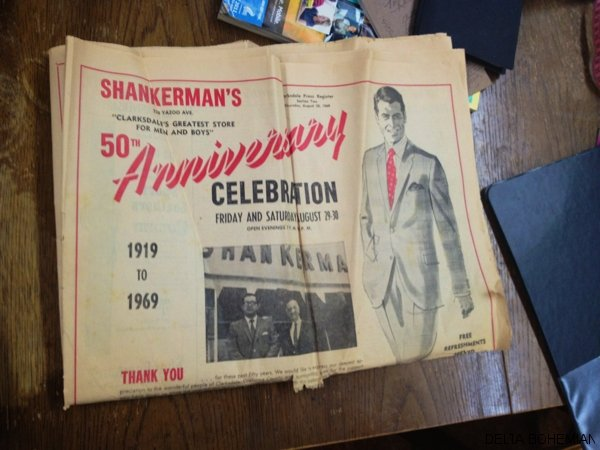 An ad for Shankerman\'s found laying on a desk in the store in Clarksdale.