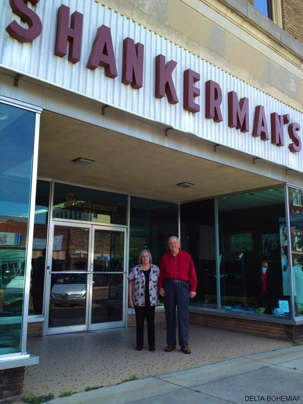 Joan and Floyd Shankerman in front of their store in Clarksdale.