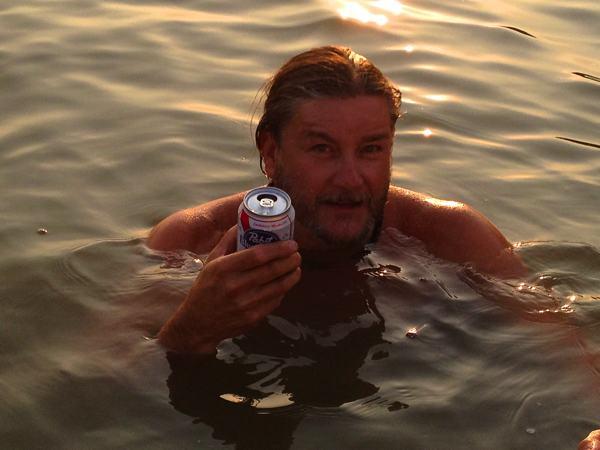 Poor William enjoying a PBR on Moon Lake