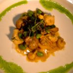 Course Five Gnocchi Parisienne with Veal Sweetbreads, Louisiana Crawfish Tails, Chanterelles, Benton's Smoked Bacon, Edamame Executive Chef Dan Blumenthal of Mangia Bene, Inc., Jackson, MS Pairing: NV, Duval Leroy, Brut Rose (15). Photography by Langdon Clay