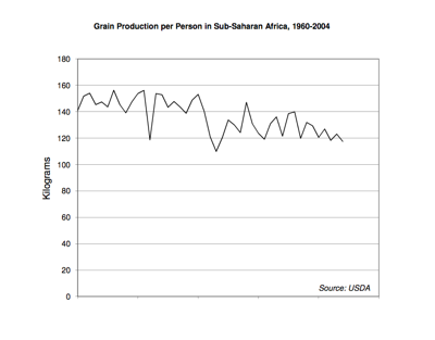 Grain Production per Person in Sub-Saharan Africa, 1960-2004. Courtesy of Earth Policy Institute.