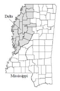 Map of Mississippi and the Mississippi Delta