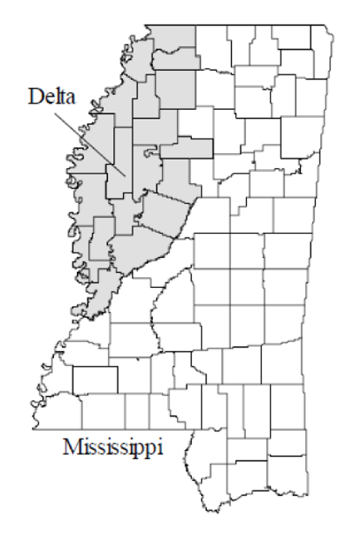 Mississippi Delta Map Map of Mississippi and the Mississippi Delta   Delta Bohemian