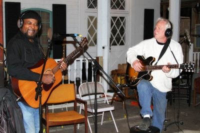 "James ""Super Chikan"" Johnson and Gary Vincent recording ""Get It Done"" in Clarksdale, MS."