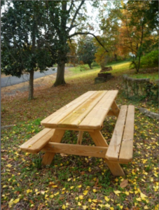 A picnic table waiting for visitors along the Sunflower River in Clarksdale, Mississippi.