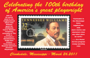 Postcard for Tennessee Williams 100th Birthday Celebration.