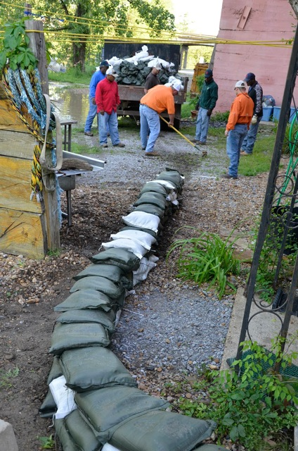 Yazoo Mississippi Levee Board laying sandbags at Quapaw. Photo by John Ruskey
