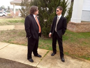 Billy Howell and Randall Andrews standing outside Coleman Funeral Home in Oxford, MS prior to funeral for Chef Levi Minyard. Photo by Delta Bohemian