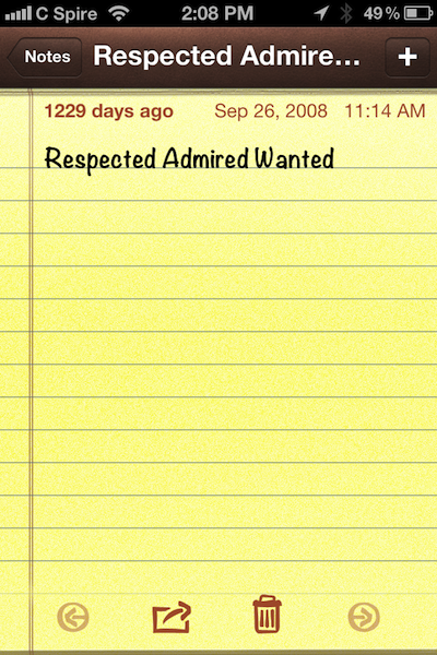A Screen Capture of a NOTE in the iPhone of Madge Marley Howell