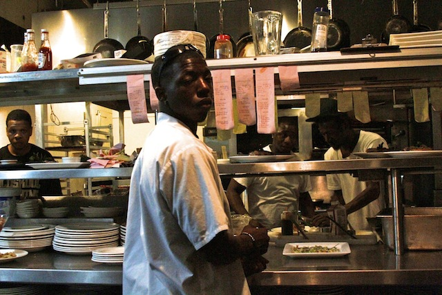 Part of the fantastic kitchen staff. l-r Sous Chef Tony Dampier, Expeditor and Washer Little Jerry Hayes, Head Chef Carl Jackson, Lead Line Cook Lorenzo Jackson working hard on final night of business at Madidi. Photo by Delta Bohemian