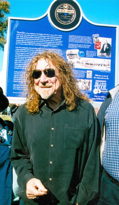 Robert Plant attending the unveiling of the Tutwiler Blues Marker dedication as part of Mississippi's Blues Heritage Trail. Photo by Panny Mayfield, publicist - pannywriter@yahoo.com