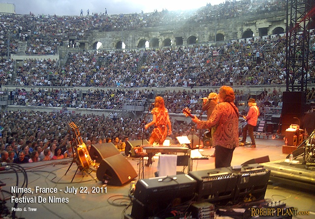 Robert Plant performing at the Festival De Nimes - Nimes, France. July 22, 2011. Photo by G. Trew. Courtesy of RobertPlant.com