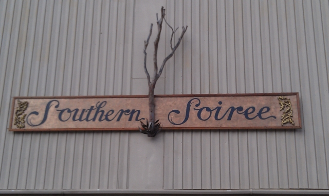 Southern Soiree sign in Clarksdale. Photo and signage by Delta Debris.