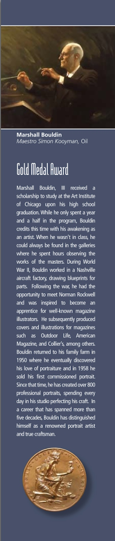 "Marshall Bouldin III from Clarksdale receives Gold Medal from Portrait Society of America at their conference ""The Art of the Portrait"" in Philadelphiia, PA."