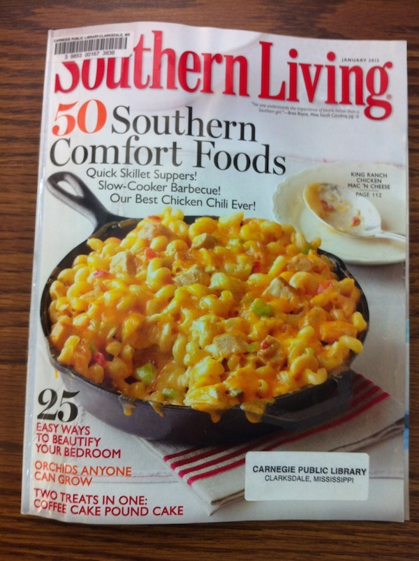 Southern Living Magazine January 2012 cover which features Clark House and Clarksdale in the Scenic Literary Route article.