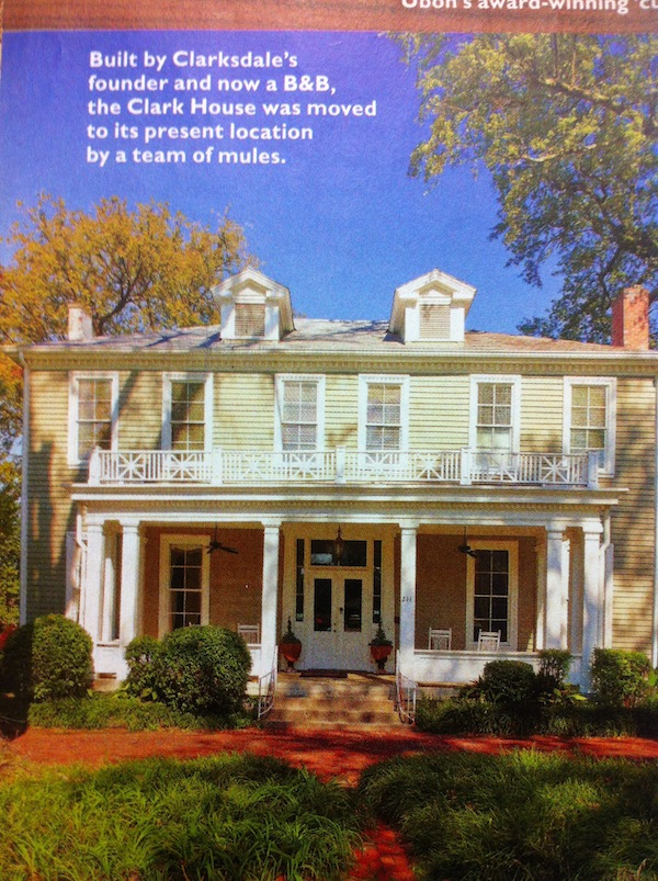 A photograph of Clark House Residential Inn in Clarksdale featured in Southern Living Magazine January 2012 issue.