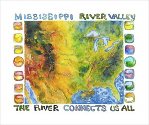 The River Connects Us All - watercolor painting by John Ruskey