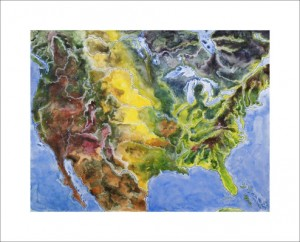 United States by Day - watercolor painting by John Ruskey