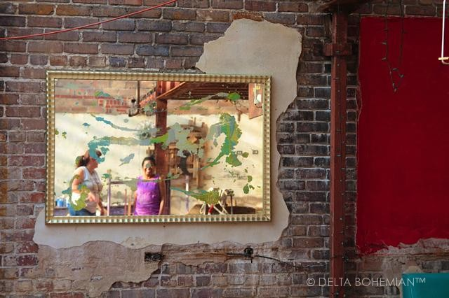 A mirror by artist Randall Andrews of Delta Debris at the NEW ROXY in Clarksdale.