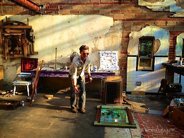 Artist Randall Andrews working on his installation at the NEW ROXY in Clarksdale