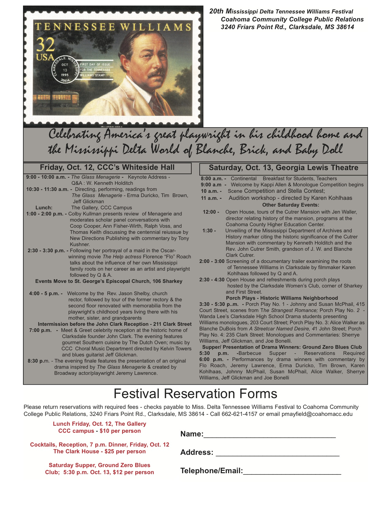 2012 Schedule for Tennessee Williams Festival in Clarksdale