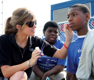 Corinne Vance face painting at Coahoma County High School. Photo credit: Troy Catchings