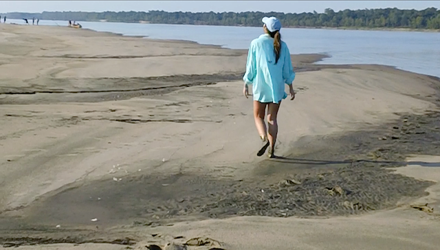 Corinne Vance on a Mississippi River sandbar. Photo credit: DELTA BOHEMIAN