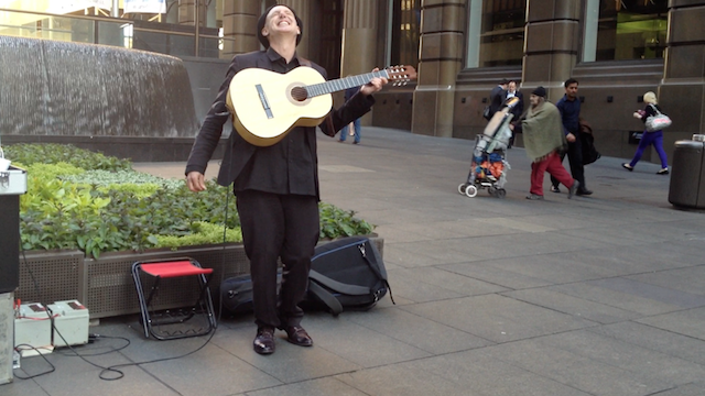 Musician Jose in Downtown Sydney at Market Place. Photo by DELTA BOHEMIAN