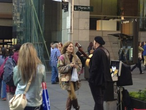 Madge Marley Howell meeting musician JOSE in Downtown Sydney. Photo by DELTA BOHEMIAN