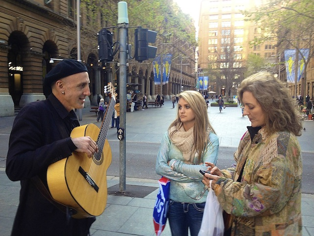 Madge Marley Howell and Bethany Howell meeting musician JOSE in Downtown Sydney. Photo by DELTA BOHEMIAN