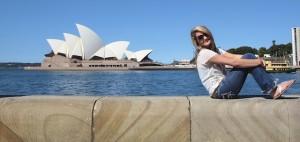 Bethany Howell and the the Sydney Opera House. Photo by DELTA BOHEMIAN