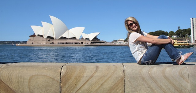 Bethany Howell and the the Sydney Opera House. Photo by DELTA BOHEMIAN