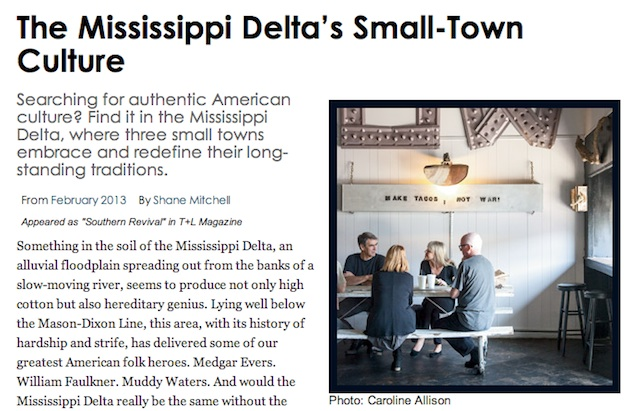 Travel and Leisure Magazine highlights Clarksdale, Greenwood and Oxford – Mississippi Delta's Small Town Culture