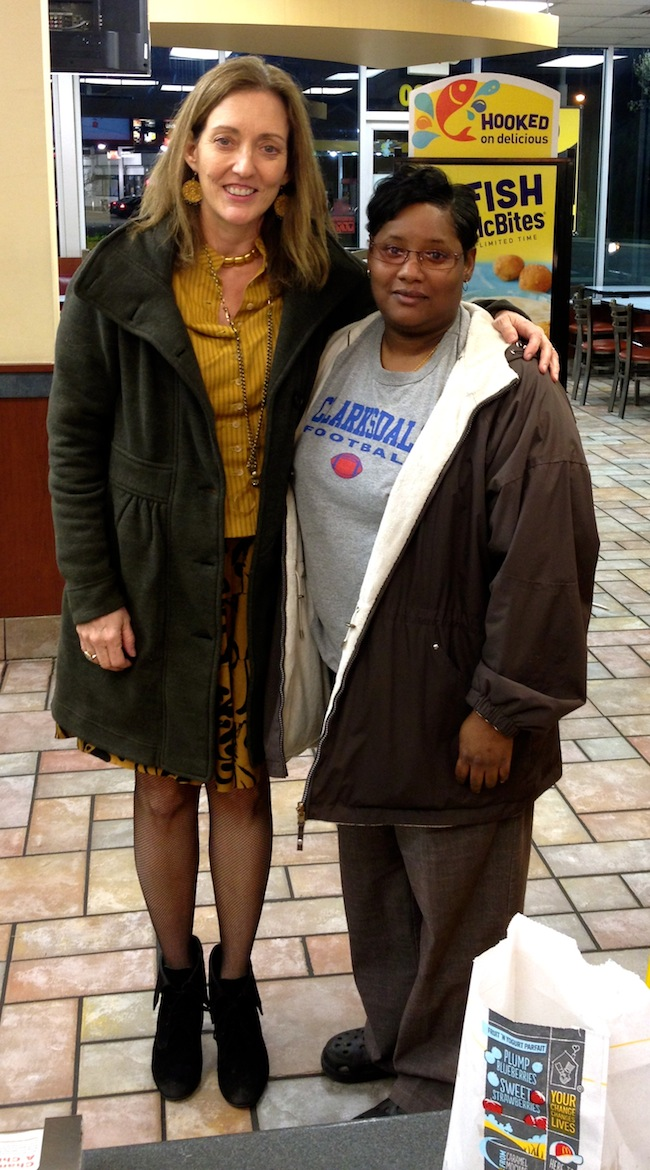 Magical Madge and Good Samaritan Jessica Harper in McDonalds in Clarksdale.