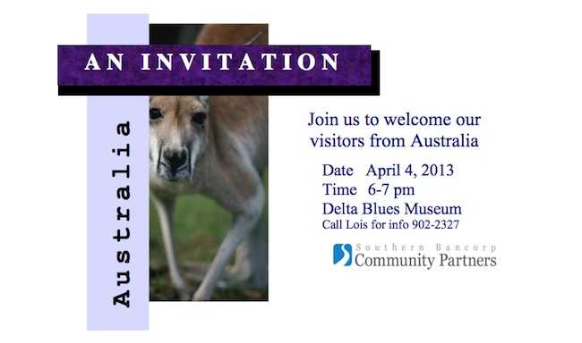 Invitation to Reception in Clarksdale for the UDIA VPELA group from Australia.