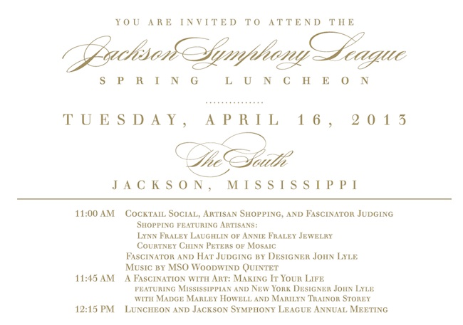 Jackson Symphony League Spring Luncheon invitation.
