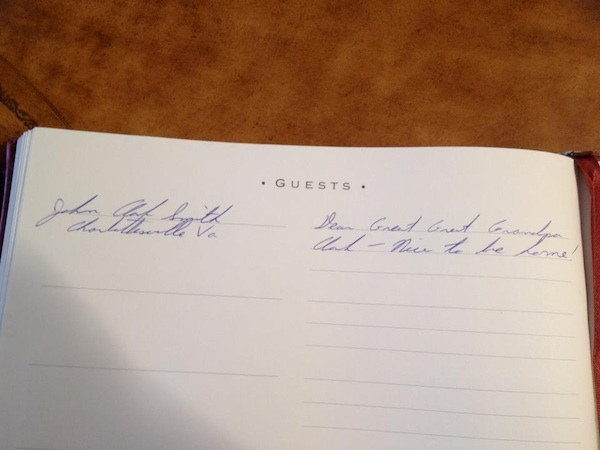 Clark Smith's entry in Clark House Guest Register