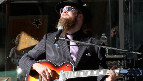 Hill Country Blues musician Sean Bad Apple in Clarksdale. Photo by DB
