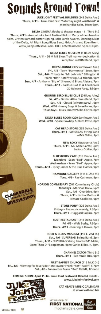 SOUNDS AROUND TOWN IN CLARKSDALE April 3rd – 11th 2013