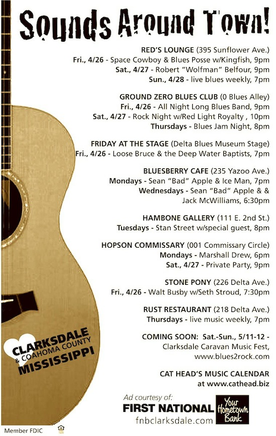 Sounds Around Town in Clarksdale April 24 - 30