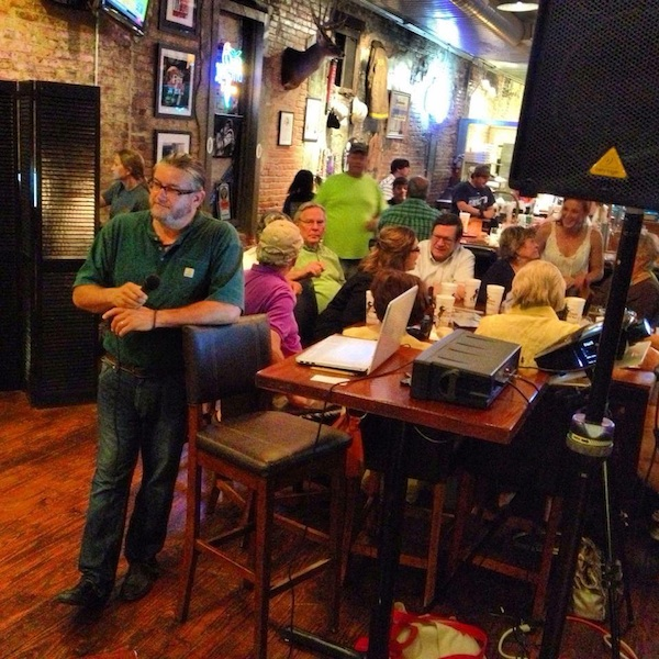 Poor William hosting Trivia Night at Stone Pony Pizza in Clarksdale, Mississippi.