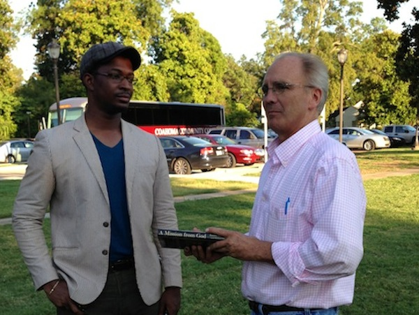 Christopher Coleman and Bubba O'Keefe at James Meredith event in Clarksdale.