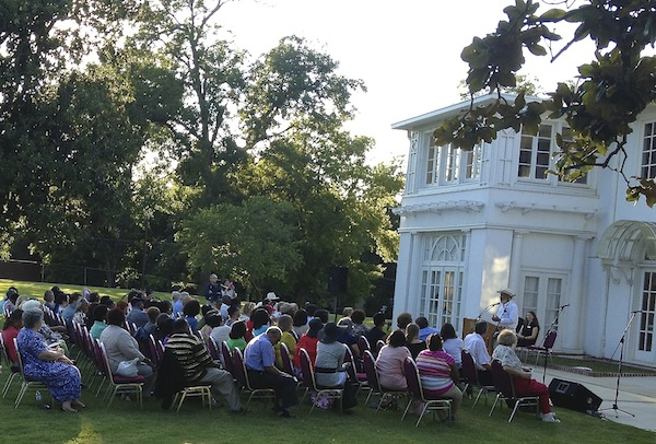 James Meredith addresses crowd in Clarksdale at the Cutrer Mansion.