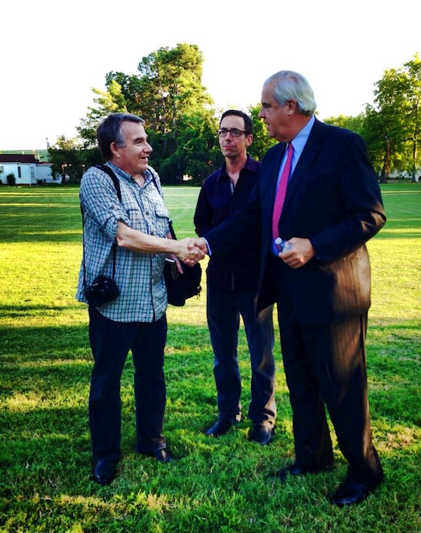 Clarksdale newcomer author Eric Stone meets Mayor Luckett with Roger Stolle.
