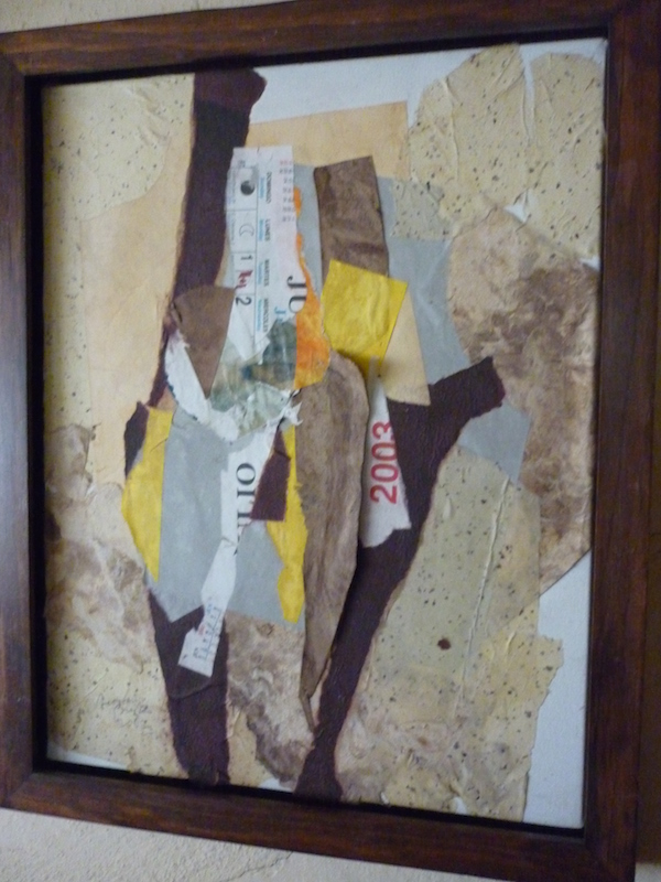 collage in gold frame 24 x 20 by Leonard Brooks at Cassidy Bayou Gallery