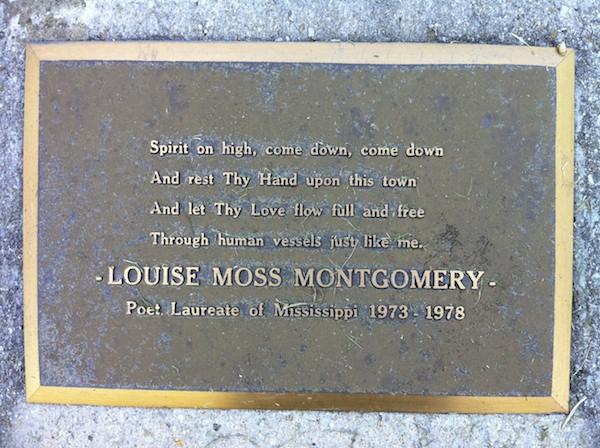 Plaque in Clarksdale Memorial to Louise Moss Montgomery