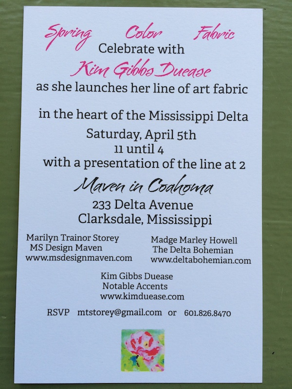 Invitation to Original Art Fabric launch by Kim Gibbs Duease