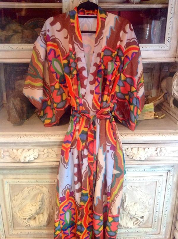 A robe made out of Original Art Fabric by Kim Duease