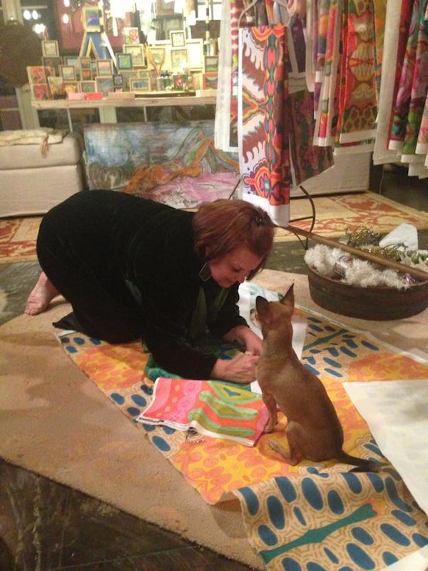 Kim Duease working on her Original Art Fabric line
